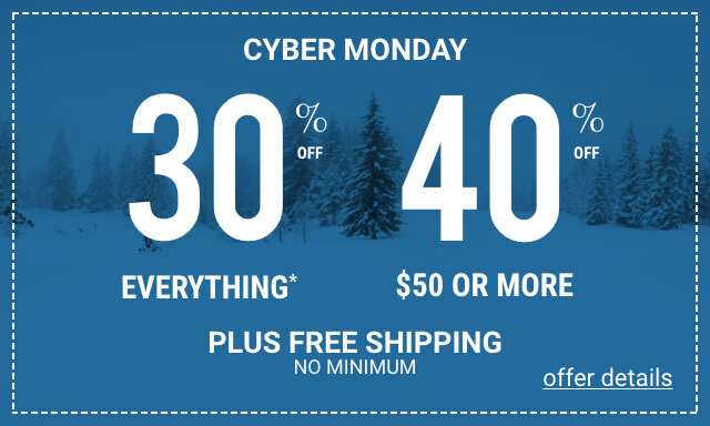 Black Friday Weekend 30% Off Everything and 40% Off $50 or More - Click for details