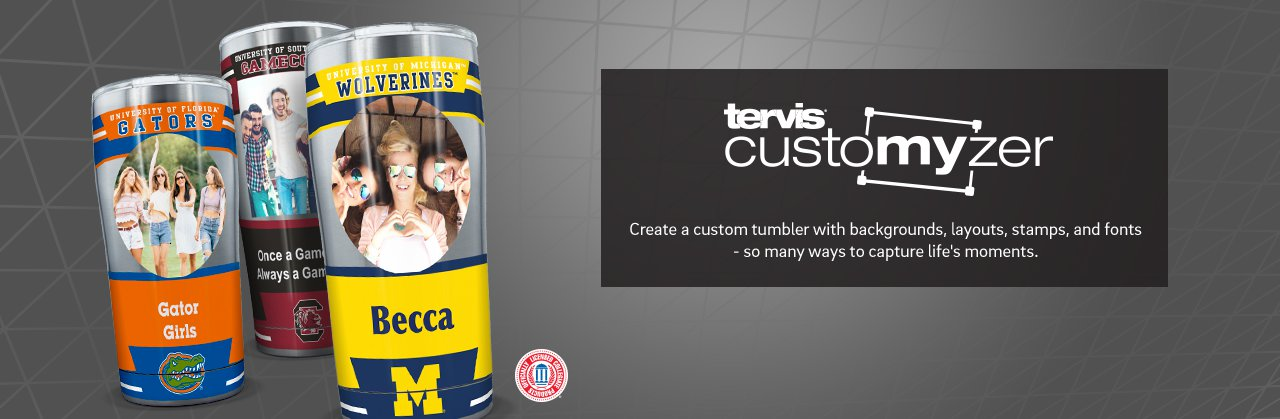Make It Yours. Create a custom tumbler with backgrounds, layouts, stamps & fonts - so many ways to capture life's moments.