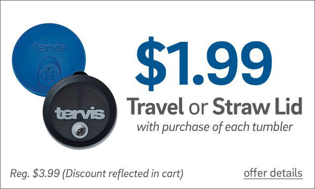 $1.99 Travel or Straw Lid with purchase of each tumbler. Regular $3.99. Discount reflected in bag. - Click for details