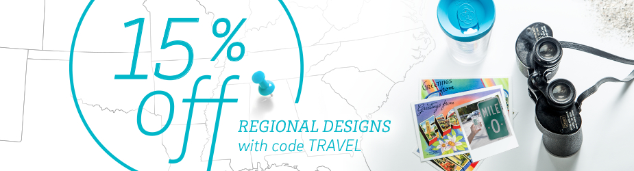 15% off Regional designs. While supplies last.
