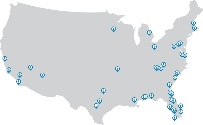 Map of official Tervis store locations