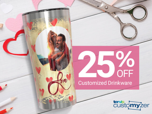 25% Off Customized Drinkware