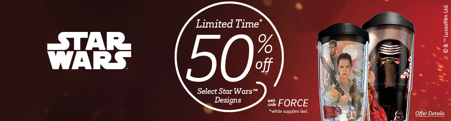 Star Wars - May the 4th Be With You. 50% off select Star Wars designs. While supplies last.