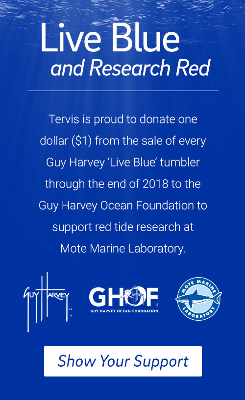 One dollar for every Guy Harvey Live Blue Tumbler will be donated to Mote Marine Laboratory for Red Tide Research.